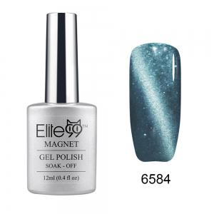 Elite99 Soak Off Cat Eye 3D Nail Tip UV Gel Polish Nail Art Design 12ml - Shimmer Silver Grey