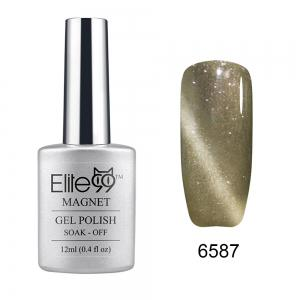 Elite99 Soak Off Cat Eye 3D Nail Tip UV Gel Polish Nail Art Design 12ml - Shimmer Khaki