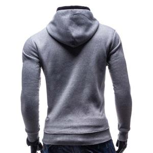 Fashion Hooded Color Splicing Button Design Slimming Long Sleeve Cotton Blend Hoodie For Men -