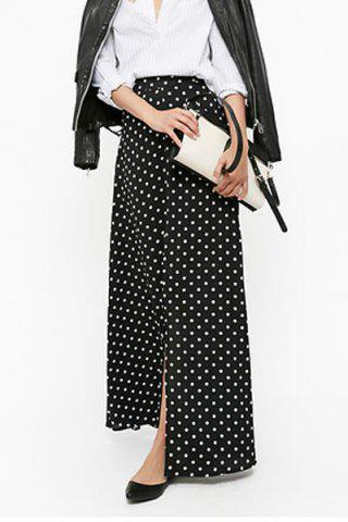 Polka Dot Maxi Skirt With Slit - BLACK S
