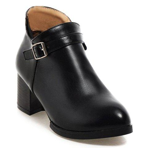Cheap Casual Solid Color and Buckle Design Women's Boots