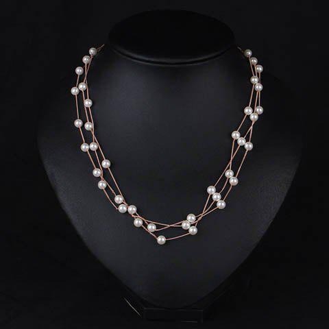 Outfit Luxury Layered Faux Pearl Necklace For Women ROSE GOLD