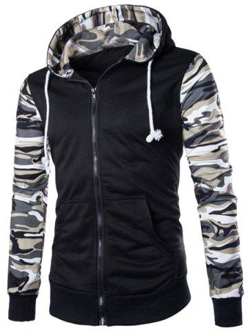 Discount Classic Camo Spliced Rib Hem Color Block Slimming Hooded Long Sleeves Men's Fashion Hoodie