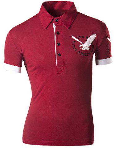 Trendy Turndown Collar 3D Eagle Pattern Slimming Short Sleeve Polo T-Shirt For Men - Red - Xl