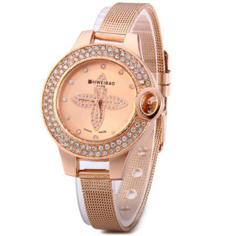 Fashion Shiweibao A1468 Flower Pattern Diamond Dial Quartz Watch with Steel Net Strap for Women