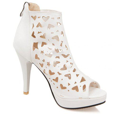 Hollow Out Heeled Open Toe Ankle Boots - WHITE 39