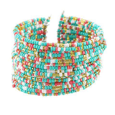 Outfits Chic Multi-Layered Beads Decorated Cuff Bracelet For Women COLORMIX