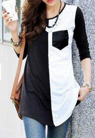 Scoop Neck Color Spliced Long Sleeve T Shirt For Women