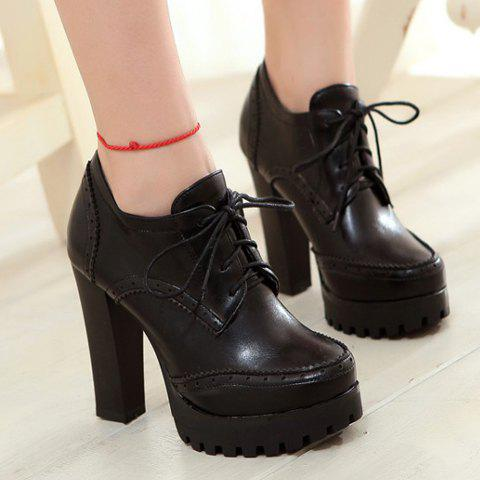 Outfit Stylish Platform and Lace-Up Design Women's Ankle Boots - 39 BLACK Mobile