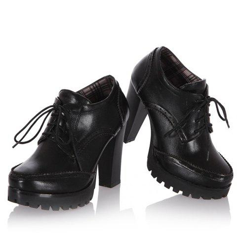 Trendy Stylish Platform and Lace-Up Design Women's Ankle Boots - 39 BLACK Mobile
