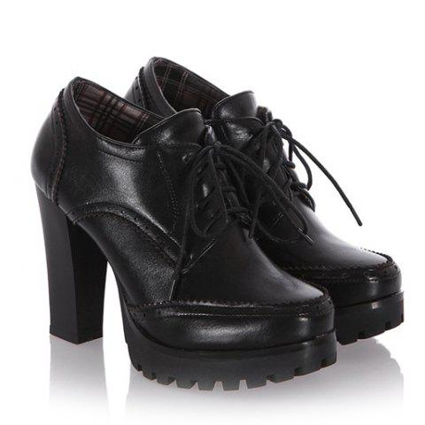 Fancy Stylish Platform and Lace-Up Design Women's Ankle Boots - 39 BLACK Mobile