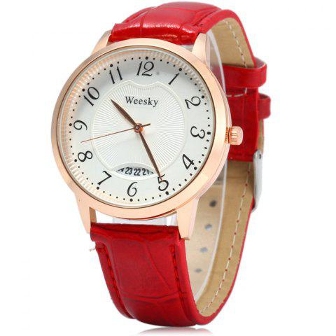 Trendy Weesky Leather Band Date Display Quartz Watch Golden Case for Women