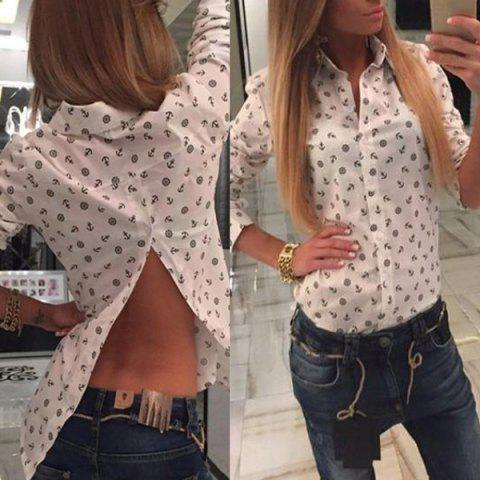 Stylish Polo Collar Anchor Print Long Sleeve Blouse For Women