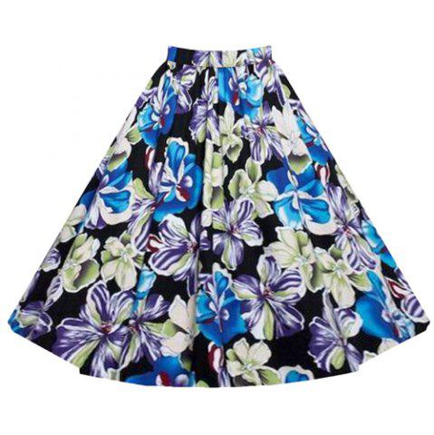 Store Vintage Style High-Waisted Flower Pattern A-Line Women's Skirt