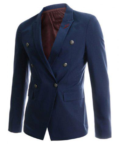 Hot Fashion Lapel Double Breasted Sutures Design Slimming Long Sleeve Cotton Blend Blazer For Men