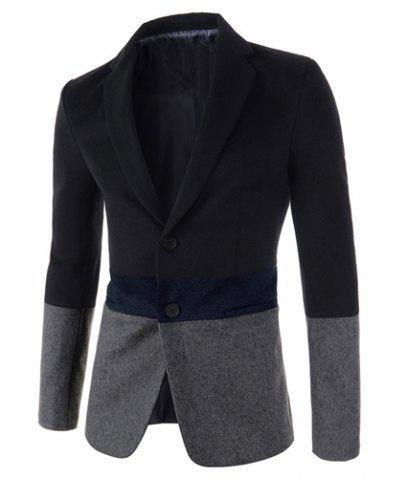 New Trendy Lapel Multicolor Splicing Slimming Long Sleeve Cotton Blend Blazer For Men GRAY M