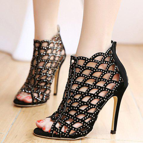 Chic High Heel Caged Sandals with Rhinestones - 40 BLACK Mobile