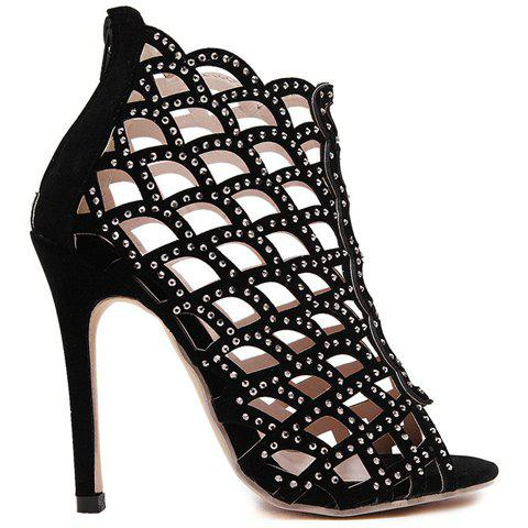 Outfits High Heel Caged Sandals with Rhinestones - 40 BLACK Mobile