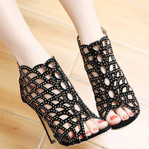 Hot High Heel Caged Sandals with Rhinestones - 40 BLACK Mobile