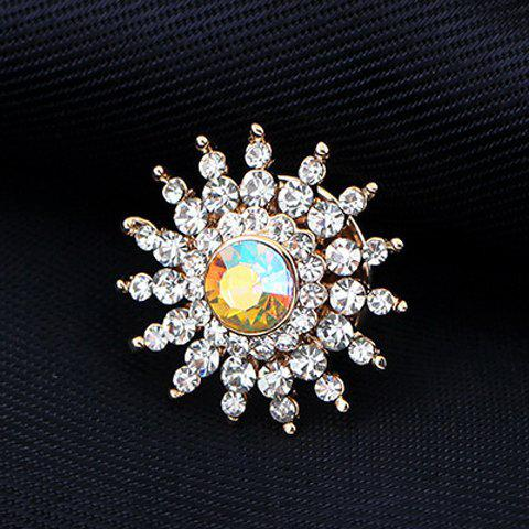 Store Rhinestone Embellished Sun Flower Brooch - WHITE  Mobile