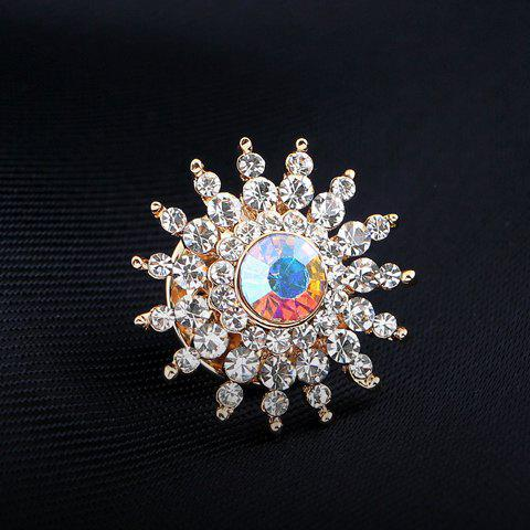 Chic Rhinestone Embellished Sun Flower Brooch - WHITE  Mobile