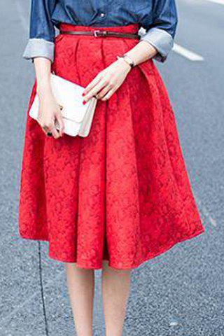 Sale Retro Style Embossed High-Waisted A-Line Skirt For Women