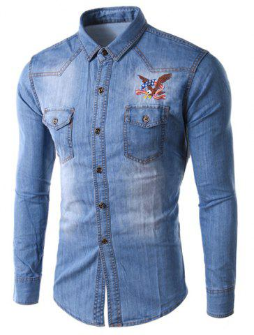 Fancy Trendy Slimming Shirt Collar Eagle Embroidered Long Sleeve Denim Jacket For Men - L LIGHT BLUE Mobile