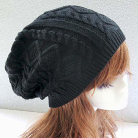 Unique Chic Rhombus and Hemp Flower Jacquard Knitted Beanie For Women