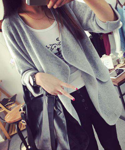 Discount Simple Collarless Long Sleeve Pure Color Pocket Design Women's Cardigan