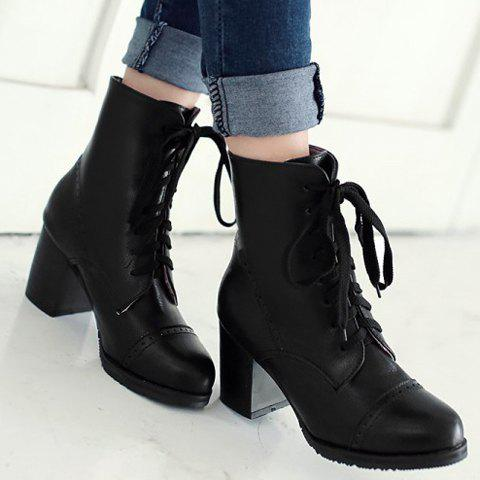 Trendy Concise Chunky Heel and Lace-Up Design Women's Boots - 37 BLACK Mobile