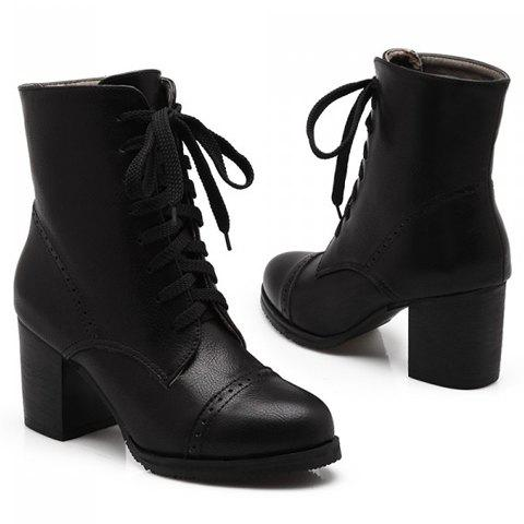 Buy Concise Chunky Heel and Lace-Up Design Women's Boots - 37 BLACK Mobile