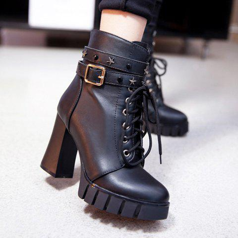 Affordable Punk Style Pentagram and Lace-Up Design Women's Boots - 38 BLACK Mobile