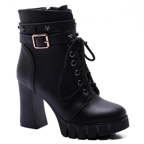 Latest Punk Style Pentagram and Lace-Up Design Women's Boots - 38 BLACK Mobile