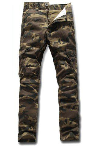 Discount Slimming Stylish Multi-Pocket Color Block Camo Pattern Narrow Feet Men's Cotton Blend Cargo Pants