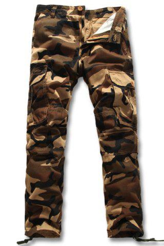 Hot Slimming Fashion Camo Pattern Multi-Pocket Straight Leg Men's Cotton Blend Cargo Pants