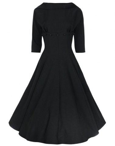 Best Vintage Stand-Up Collar Half Sleeve Pure Color Women's Dress BLACK L