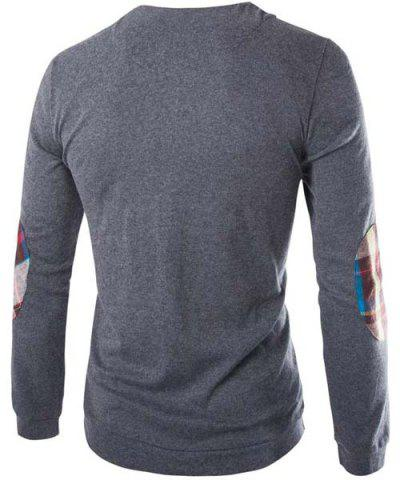 Affordable Fashion Slimming Round Neck Buttons Design Patched Splicing Long Sleeve Woolen Blend T-Shirt For Men - 2XL GRAY Mobile