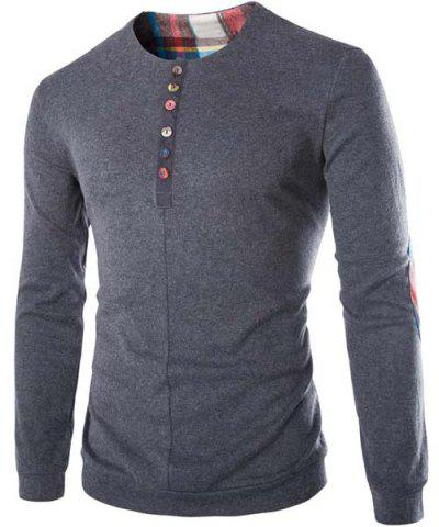 Outfits Fashion Slimming Round Neck Buttons Design Patched Splicing Long Sleeve Woolen Blend T-Shirt For Men