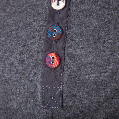 Fancy Fashion Slimming Round Neck Buttons Design Patched Splicing Long Sleeve Woolen Blend T-Shirt For Men - 2XL GRAY Mobile