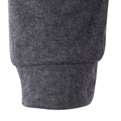 Hot Fashion Slimming Round Neck Buttons Design Patched Splicing Long Sleeve Woolen Blend T-Shirt For Men - 2XL GRAY Mobile