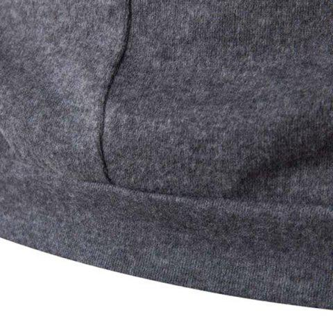 Shop Fashion Slimming Round Neck Buttons Design Patched Splicing Long Sleeve Woolen Blend T-Shirt For Men - 2XL GRAY Mobile