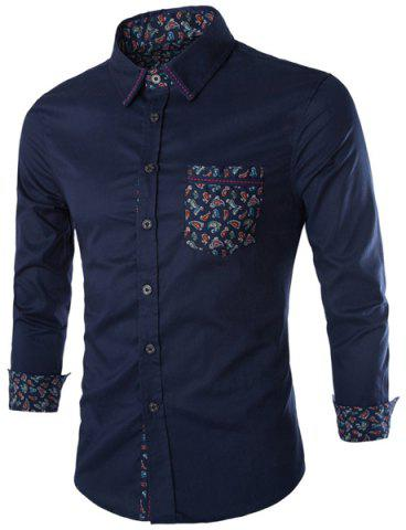 Best Stylish Slimming Shirt Collar Paisley Pattern Splicing Long Sleeve Cotton Blend Shirt For Men