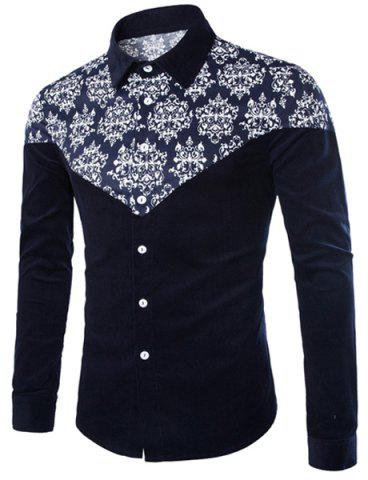 Chic Modish Slimming Shirt Collar Color Block Ethnic Print Splicing Long Sleeve Corduroy Shirt For Men CADETBLUE L