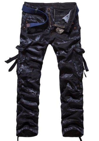 Outfits Loose Fit Modish Camo Pattern Multi-Pocket Straight Leg Men's Cotton Blend Cargo Pants