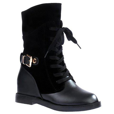 Shop Retro Solid Color and Splicing Design Women's Boots