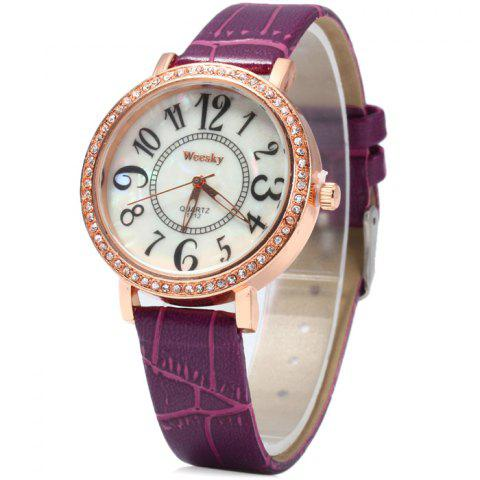 Outfit Weesky 1212 Golden Case Diamond Quartz Watch with Leather Band for Women