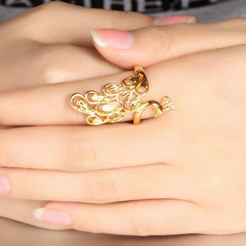 Sale Luxury Solid Color Peacock Shape Adjustable Index Finger Ring - ONE-SIZE GOLDEN Mobile