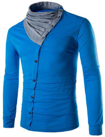 Hot Cowl Neck Button Design Color Block Panel T-Shirt - L LAKE BLUE Mobile
