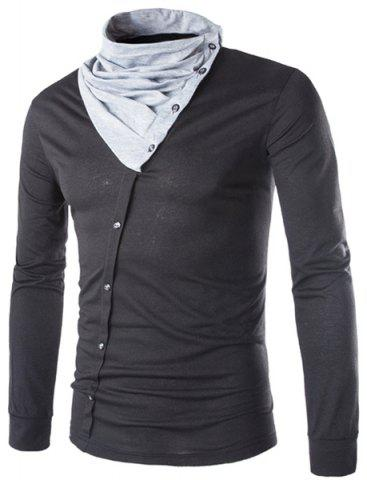 Fancy Cowl Neck Button Design Color Block Panel T-Shirt - L BLACK Mobile