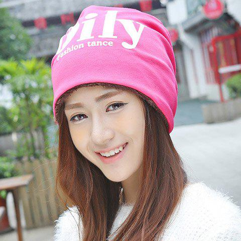 Trendy Chic Letters Pattern Double-Deck Thicken Beanie For Women
